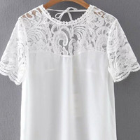 Short Sleeve Tie V-Neck Back Split Side Lace Patchwork Chiffon Blouse