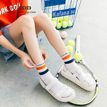 5Pairs College Striped Letter Student Socks New Fashion Tide Women Tube Socks