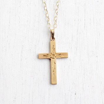 Antique 10k Yellow Gold Cross Necklace - Vintage Art Deco Religious Hallmarked Dason Crucifix Pendant with Flower & Geometric Designs
