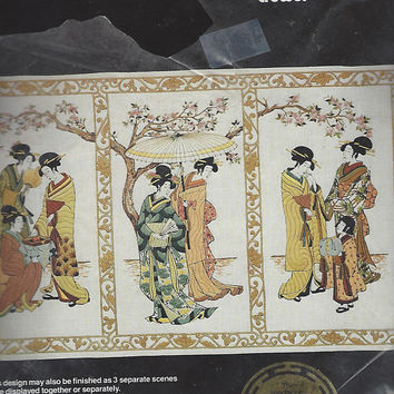 """1980s Oriental Garden by Pat Zitomer Dimensions Crewel Kit 1181 RARE Tryptych Oriental Crewel Embroidery Kit NIP 46"""" x 28"""""""