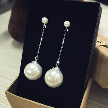 Korean Simple Design Stylish Accessory Pearls Tassels Earrings [7495585351]