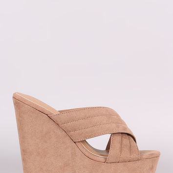 Bamboo Crisscross Quilted Suede Platform Wedge