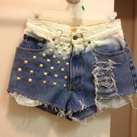 High Waisted Shorts dipped into bleach with studding