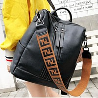Fendi Fashion New Leather Travel Leisure Shoulder Bag Backpack Bag Women Black
