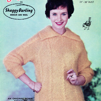 1950's Shaggy Darling Mohair Sweater - Vintage Pattern - Original Knitting Pattern - Robin 884 - Lady's Sweater Jumper
