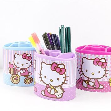 Pretty Hello Kitty Pen case Desktop Storage bucket multifunction pencil box/Toothbrush holder Pen Holders
