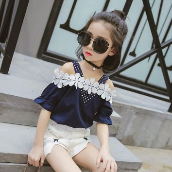 2017 Summer girl t shirt+shorts two-piece sets kids clothes children clothing girls sets cotton girls clothes 2 colors 3-15Y