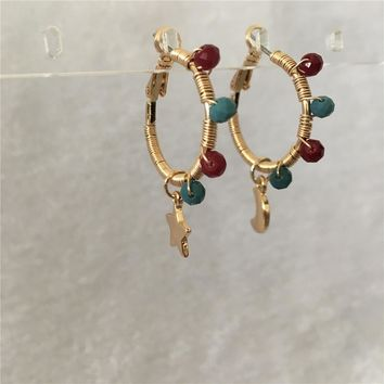 TRENDY GOLD COLOR PLATING WITH BEAD SPIRAL STAR MOON CHARM HOOP EARRING FOR WOMEN GIRL