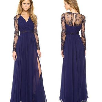 Sexy Plunging Neck Slit Lace Splicing Maxi Dress For Women