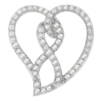 14k White Gold 1ct TDW Round-cut Diamond Heart Pendant Necklace (H-I, I1-I2)