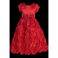 Red Floral Ribbon Girls Holiday Dress w. Cap Sleeve Satin Bodice 2T-12