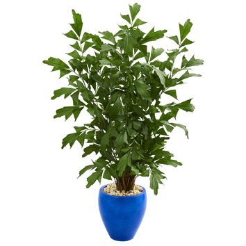 5' Fishtail Palm Artificial Tree in Glazed Blue Planter
