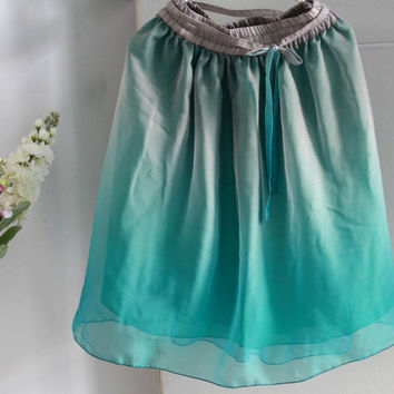 Bridesmaid Skirt, Ombre chiffon skirt in turquoise green and gray