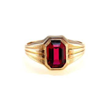 Signet Ring 10k Yellow Gold Simulated Ruby Pinky Ring