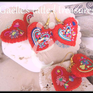 Fairy tale' hand made, silk hand embroidered earrings