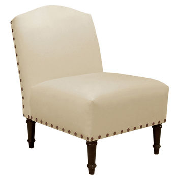 Clark Nail-Trim Slipper Chair, Cream, Accent & Occasional Chairs