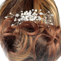 Pearl Wedding Hair comb,, Hair Ornament, Bridal Hair comb, Haircombs for brides, Crystal Hair comb