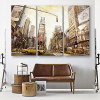 Oil Painting Canvas Landscape Busy City Wall Art Decoration Modular Painting Home Decor On Canvas Modern Wall Prints(3PCS)