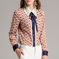 High Quality European Full Sleeve Turn-down Collar Bow Soft Loose Female Shirts