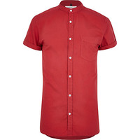 River Island MensBright red grandad collar Oxford shirt