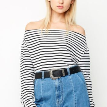 'audrey' striped off-the-shoulder tee
