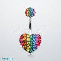 Rainbow Heart Tiffany Inspired Belly Button Ring