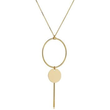"14K Yellow Gold Disc Circle And Bar On 16"" To 17"" Adjustable Necklace"