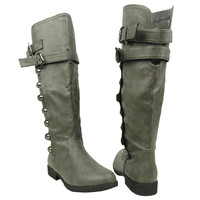 Womens Knee High Boots Side Rounded Studs Buckle Casual Comfort Shoes Gray SZ