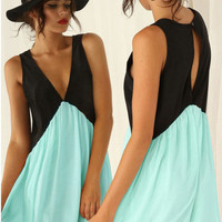 Multicolor Seafoam Foam Green Deep V Neck Hollow Chiffon Dress