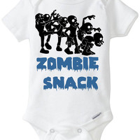 "Zombie Snack Baby Boy Gift: Gerber Onesuit bodysuit Halloween Costume - ""Zombie Snack"" with group of Zombies Funny Onesuit Preemie Size Avl!"