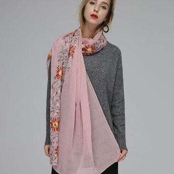 Embroidery Vintage Floral Scarf Shawl