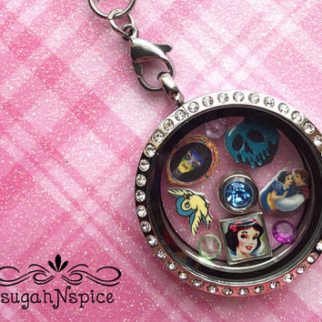 Snow White Floating Locket - 30mm Rhinestone Magnetic Locket - Snow White Floating Charms - Snow White Memory Charms - Stainless Steel 30MM