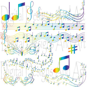 Rainbow Music clipart, colorful notes clip art, Digital Clipart Musical,Invitation Clipart Design Elements, rainbow clipart