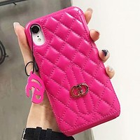 GUCCI New fashion leather couple protective cover personality phone case Rose Red