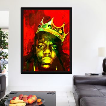 Biggie Smalls, Notorious BIG, Luke Cage, Canvas Wall Art With Wood Black Frame