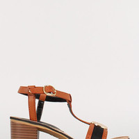 Bamboo T-Strap Medallion Open Toe Chunky Heel Color: Navy, Size: 8