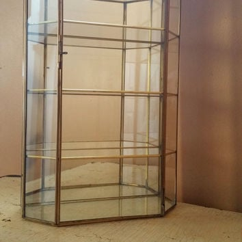 Large Vintage Brass and Glass Curio Cabinet Miniatures Wall Hanging Display Case