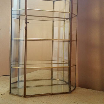 Charmant Large Vintage Brass And Glass Curio Cabinet Miniatures Wall Hanging Display  Case