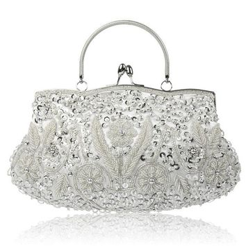 Evening Bags Women Clutch Bags Evening Clutch Bags Wedding Bridal Handbag Pearl Beaded Lace Rose Fashion Rhinestone Bags