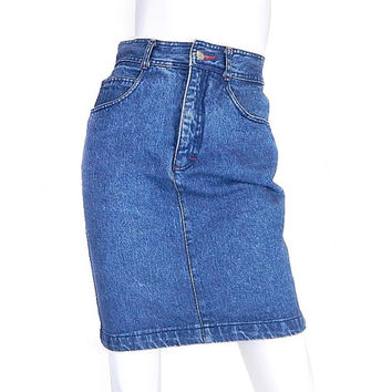 80s 90s Vintage High Waisted ESPRIT Denim Skirt - Size 6 - Women's Stone Washed Short Blue Jean Skirt - 27 Waist