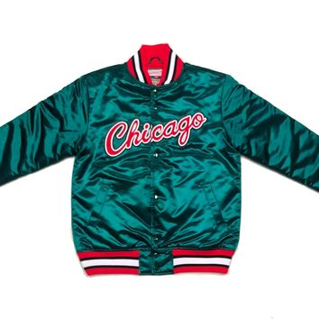 Limited Spring 2018 Mitchell & Ness Chicago Bulls Green Satin Jacket