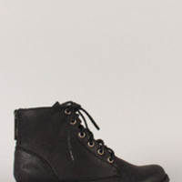 Women's Zipper Military Lace Up Bootie