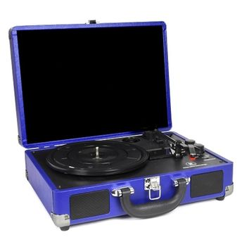 Innovative Technology ITVS-550BT-CB 3-Speed Vintage Bluetooth Suitcase Turntable (Cobalt Blue)