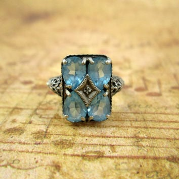 December Birthstone Vintage Sterling Silver Blue Topaz Ring Art Deco Inspired Gorgeous Antique Look Exquisite Detail Openwork Filigree Nice!