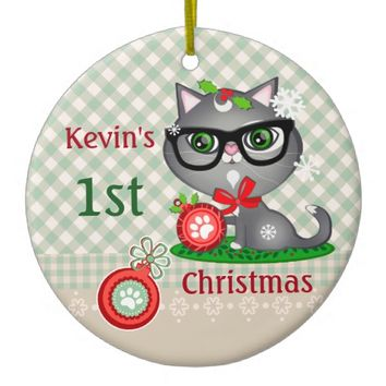 Custom Baby Boy Cat First Christmas Ornament
