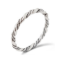 Oxidised Silver Twisted Rope Stacker Ring