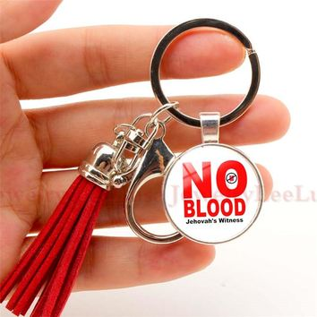 "JW Org Charm Keychain "" No BLOOD"" Tassel Keychain Jehovah's Witnesses Pendant Glass Photo Cabochon Keyring Llavero Sleutelhanger"
