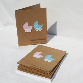 Twins Baby Shower Thank You Cards - Twins Thank You Cards - Thank You Cards - Baby Shower Cards - Pink and Blue Thank You Cards - 50