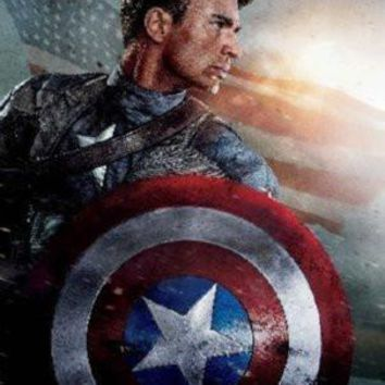 Captain America Movie poster Metal Sign Wall Art 8in x 12in