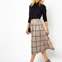 ASOS Full Midi Skirt in Squared Check Print